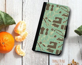 Sewing Pattern Wallet Phone Case.  Available for iPhone 4/4s, 5/5s, 5c, 6/6s or 6+/6s+