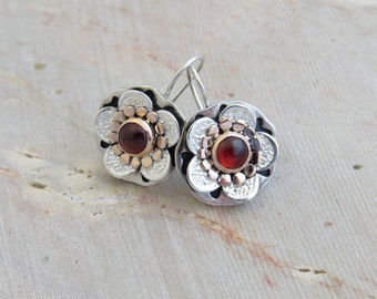 Floral Garnet Earrings sterling silver and gold - made to order