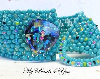 Beaded Bracelet, Beadwoven Bracelet, Embellished Bracelet, Cuff Bracelet, Peyote Seed Bead Bracelet, Peyote Bracelet, Seed Bead Bracelet
