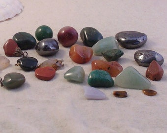 REDUCED Polished Tumbled Stones Destash 25 Pieces for Jewelry or Crafts