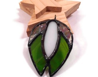Stained Glass Jewelry Necklace Birth of a Seed Green Glass Pendant Handmade Jewelry Blessings Pendant Glass Metal Necklace Green Jewelry