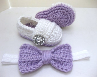Baby Girl, Baby Shoes, Headband, Hair Bow, Flower Headband, SET, Purple, White, Newborn, Newborn Photos, Photo Prop, Crochet