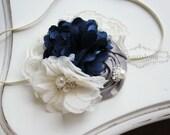 Ivory and Navy Headband, rosette headband, ivory headbands, newborn headband, photography prop, grey headbands