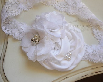 White flower headband, baptism headbands, white newborn headbands, photography prop, flowergirl headbands