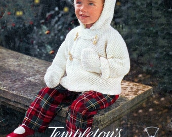 Childs Duffel Coat and Mittens in DK 8 ply for Ages 1 to 3 years old - Templetons 1210  - pdfVintage Knitting Baby Pattern