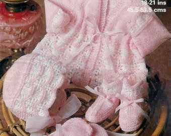 Baby 4PLY Matinee Jacket Bonnet Mittens& Bootees sizes 18- 21ins- Marriner 1931  - PDF of  Vintage Knitting Patterns