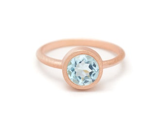 Blue Topaz in Gold Gemstone Ring - Gold Ring - Gemstone Ring - Blue Topaz Ring - Sizes 4.5, 5, 5.5, 6, 6.5, 7, 7.5, 8, 8.5, 9, 9.5 and 10