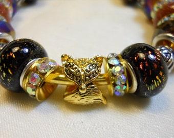 What Does the Fox Say Bracelet, Elegant Foxy Beaded Bracelet, Earthtone Amber Bracelet, European Style Beaded Brangle