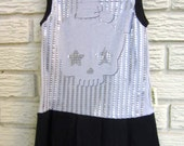 Girls Size 2T Bow Skull Sleeveless Knit Dress. Black and Grey, Sequin-style, Black Friday/Cyber Monday/Free Shipping /Gifts under 50