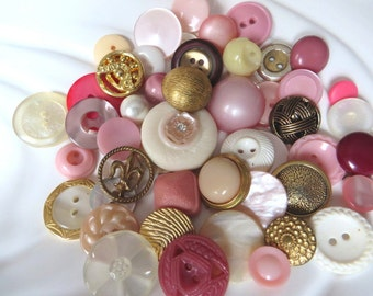 Pretty in Pink & Gold Vintage Button Collection - 50 unique buttons (8A)