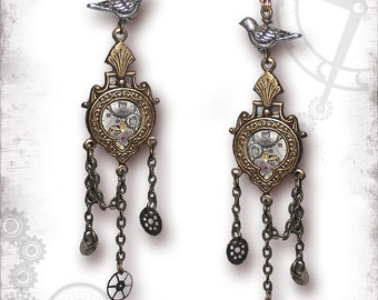 Cuckoo Clock Chandelier Steampunk Earrings - Za Dee Da - The Inventors Collection - Cuckoo For You