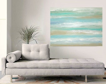 Art, Abstract Painting,Beach, Acrylic Original Painting, Canvas Art by Ora Birenbaum Sandcastles 8 30x40x1.5""