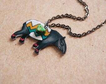 Tapir Necklace / Chevron Animal / Chevron Necklace / Striped / Ethnic / Tribal / Shrink Plastic Jewelry