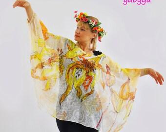 Maxi silk oversize tunic Blouse Silk Chiffon Coverup/Hand painted Silk Tunic/Coverup blouse Painting Blouse Woman tunic Yellow coverup/T0084