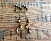 Matte Gold Dangle Clip On Earrings, Teardrop Clip Earring, Long Chain Clip on