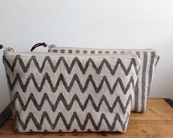 Brown Chevron Zipper Pouch, Cosmetic Pouch, Toiletry Bag, Linen Makeup Organizer, Chevron Stripes, Linen Zipper Bag, gift for her