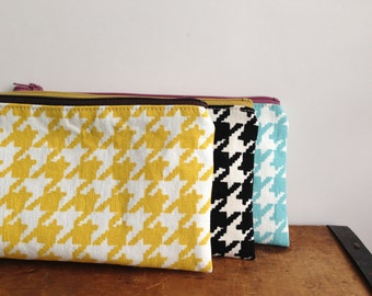 Yellow Houndstooth Check Pencil Pouch, Yellow Brown Pencil Case, Zipper Pouch, Japanese Fabric, Yellow Gingham Check