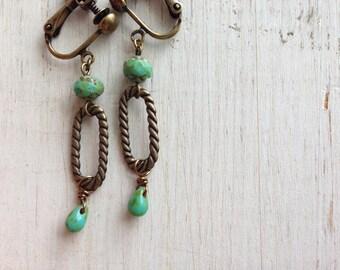 Turquoise Clip On, Dangle Clip Earring, Green Teardrop, Screw Back, Boho Earrings, Turquoise green