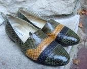 Mens Snakeskin Exotic Vintage Shoes Size 8.5
