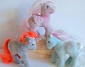 Vintage MLP My Little Pony So Soft Ponies G1 Original 1980s 80s cartoon collectible toy lot Twist (purple) Hippity Hop (pink) Fifi (blue)