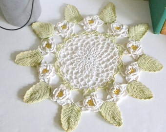 Vintage Shabby Chic Crochet Doily.  Flowers Leaves Cottage Rustic Traditional Home Decor Display Spring White Green Knitted & Handmade