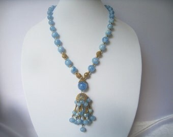 "CLEARANCE Tassel Necklace of Blue Marbled Graduated Beads with Textured Filigree Accent Parts.   Mid Century Vintage.  Almost 23"" Long."