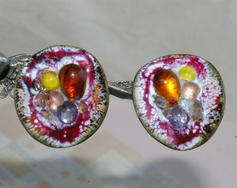 Vintage Copper and Enamel Button Style Handmade Earrings-  1950's - Spring Back Clips