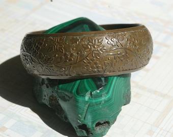 Vintage Copper Embossed Bangle Bracelet - Highly Detailed - 1950s