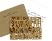 """Solid Wood Wedding Invitation Sample - Extra Thick """"FreeCut SanSerif"""" Design Laser Cut From Bamboo Plywood or Baltic Birch Plywood"""