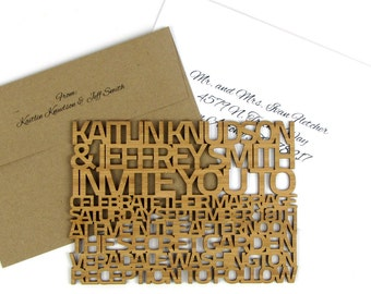 "Solid Wood Wedding Invitation Sample - Heavy ""FreeCut SanSerif"" Design Laser Cut From Bamboo Plywood or Baltic Birch Plywood"