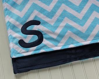 Chevron Monogrammed Minky Blanket, Turquoise and Navy Double Sided Minky Chevron Blanket, Chevron Baby Blanket