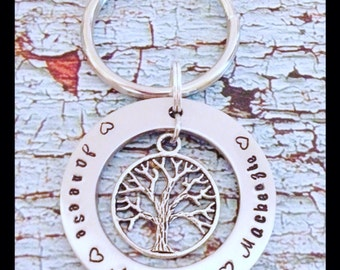 Personalized Stamped Keychain Mother Mom Family Grandmother Eternity Circle Tree of life w/ Kids Names