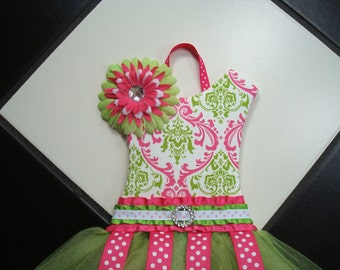 Boutique Tutu Hair Bow Holder Butterfly Butterflies Lime Hot Pink White Polka Dot Cute