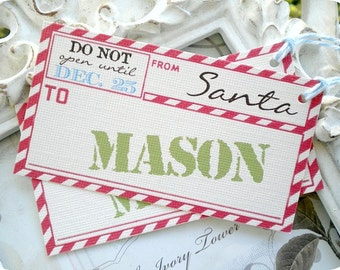 Personalized From Santa Gift Tags (6) Christmas Gift Tags-Airmail Gift Tags-Holiday Tags-Treat Tags-Favor Tags-Don't Open Until Dec 25th