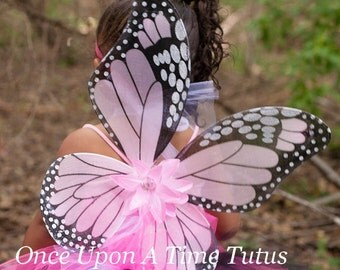 Pink Monarch Butterfly Wings - Butterfly Costume - Fairy Halloween Costume Accessory - Little Girls or Toddler Wearable Wings