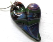 Heart Necklace Glass, Hand Blown Glass Jewelry, Handmade Lampwork SRA Boro Heart Amber Purple and Kelly Green