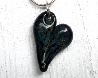 Glass Heart Pendant, HandBlown Lampwork Necklace, Blown Boro Off Mandrel Black and Blue