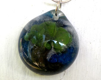 Tree Necklace Glass Boro Pendant Implosion, Lampwork Jewelry Focal Bead, Flamework Hand Blown Oak