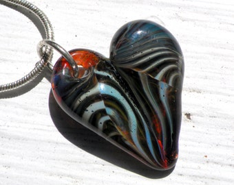 Glass Heart Necklace, Blown Glass Jewelry, Lampwork SRA Sparkling Blue Twisted Mix