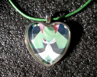 Kirlia Glass Heart Pendant made from Trading Cards