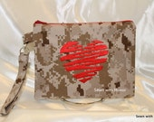 USMC desert fabric clutch with red scribble embroidered heart on the front. Ready to ship