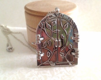 Vintage Style Fairy Door Necklace. Opening Doorway. Enchanting. Fairy Tale. Secret Garden. Woodland. Silver Chain. Statement Necklace. Gift.