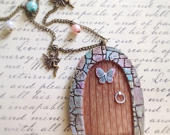 Vintage Style Large Fairy Door Necklace. Enchanting. Fairy Tale. Secret Garden. Woodland. Brass Chain. Statement Necklace. Gift. Butterfly.