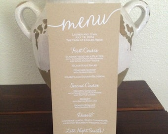 Custom Kraft Wedding Menu, Tea Length