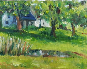 Little Country House - original oil painting on canvas panel