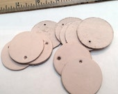 """10pc - Round Leather Tags w/ hole  1.5"""" - BLANK"""