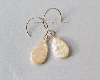 Freshwater Pearl Earrings, Pale Peach Freshwater Pearls, Top-drilled Tear Drop Coin Pearls, Gold-filled Earwires. Dainty, Everyday. E207b.