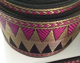 Purple and Gold Chevron Zari Ribbon / Border / Lace - Purple Zari Border / Trim / Ribbon for Sari and Dresses