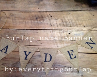 Burlap personalized name banner