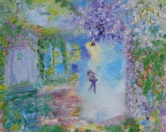 Woodland Angel, Angel Art, Original Oil Painting, Fantasy Art, Girls Art, Storybook Art, Impression,16x120, Kathleen Leasure, FromGlenToGlen